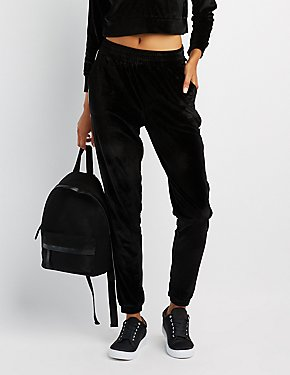 Velour Stripe Jogger Pants