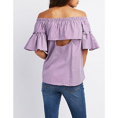Striped Off-The-Shoulder Open Back Top