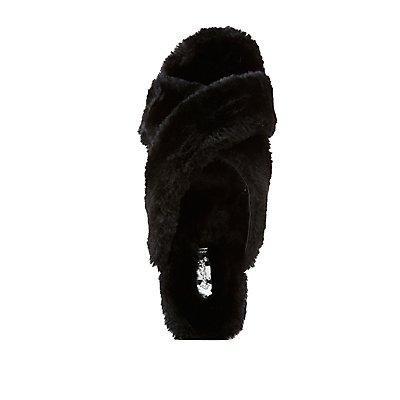 Qupid Faux Fur Flatform Sandals