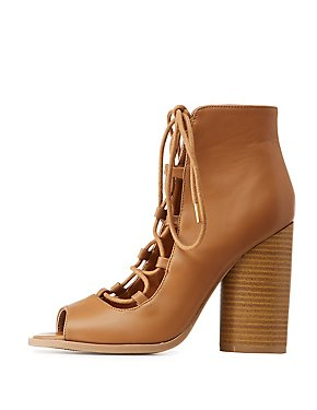 Qupid Lace-Up Peep Toe Booties