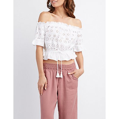 Eyelet Off-The-Shoulder Crop Top