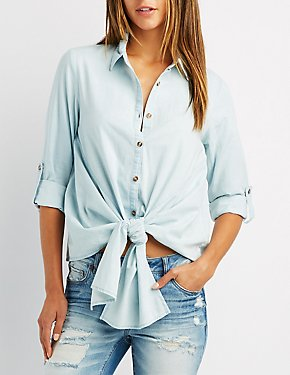 Chambray Button-Up Tie-Front Top