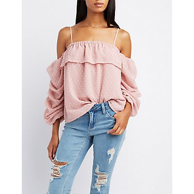 Swiss Dot Cold Shoulder Top