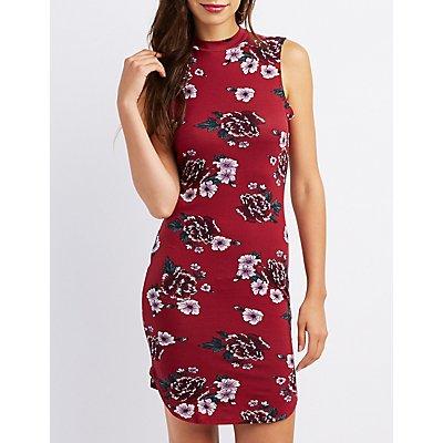 Floral Mock Neck Bodycon Dress
