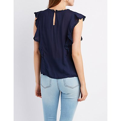Crochet & Ruffle-Trim Embroidered Top