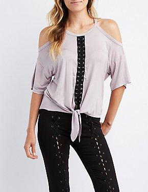 Cold Shoulder Lace-Up Detail Tie-Front Top