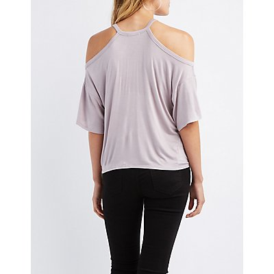 Cold Shoulder Lace-Up Detail Tie-Front Top