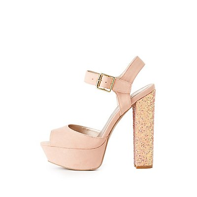 Qupid Two-Piece Glitter Heel Sandals