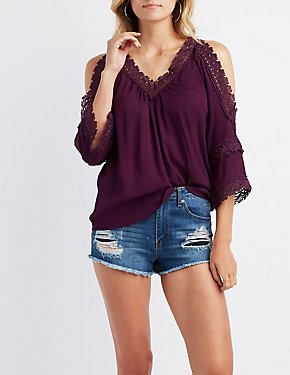 Crochet-Inset Cold Shoulder Top