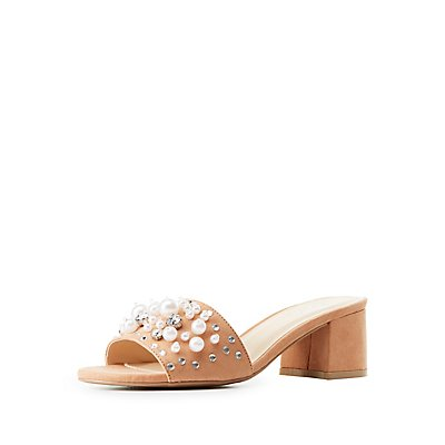 Qupid Pearl Embellished Slide Sandals