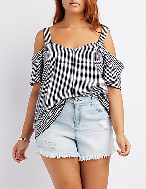 Plus Size Gingham Cold Shoulder Top