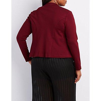 Plus Size Zipper-Trim Blazer
