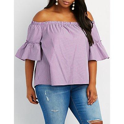 Plus Size Striped Off-The-Shoulder Flutter Sleeve Top