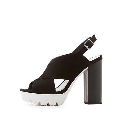 Qupid Slingback Platform Sandals