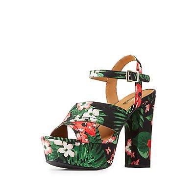 Qupid Tropical Platform Sandals