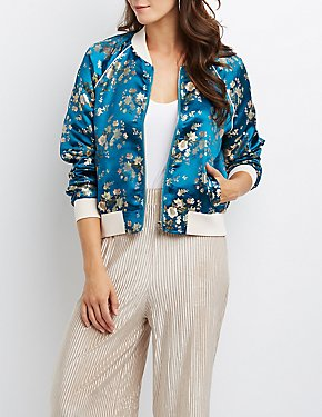 Satin Brocade Bomber Jacket