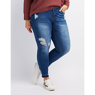 Plus Size Released Hem Destroyed Skinny Jeans