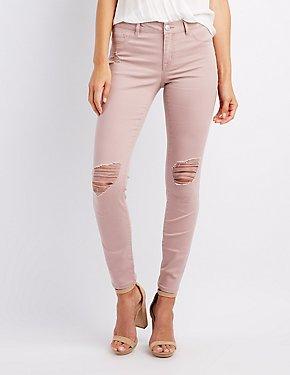 Refuge Skin Tight Legging Destroyed Jeans