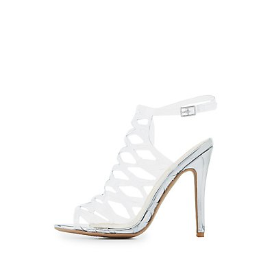 Qupid Clear Laser Cut Dress Sandals