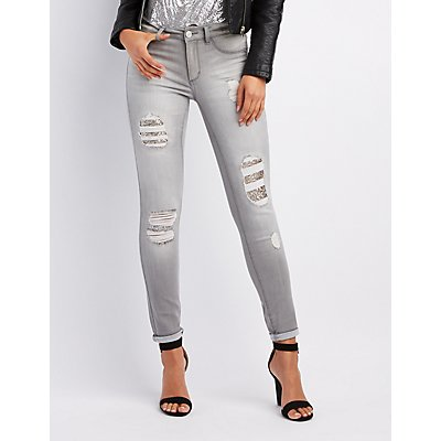 Refuge Sequin-Inset Destroyed Skinny Jeans