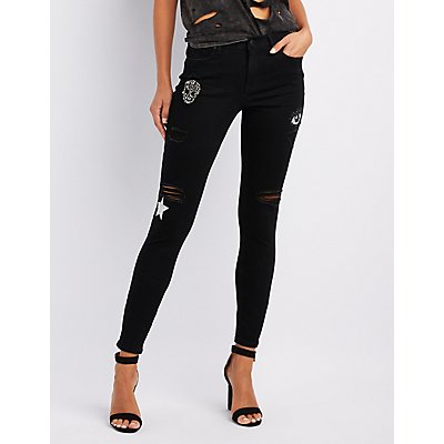 Refuge Embellished Skinny Destroyed Jeans