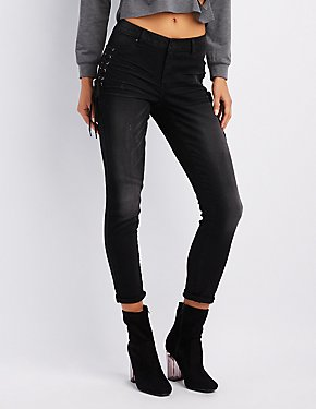 Refuge Destroyed Skinny Lace-Up Jeans
