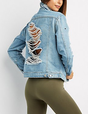 Studded Destroyed Denim Jacket