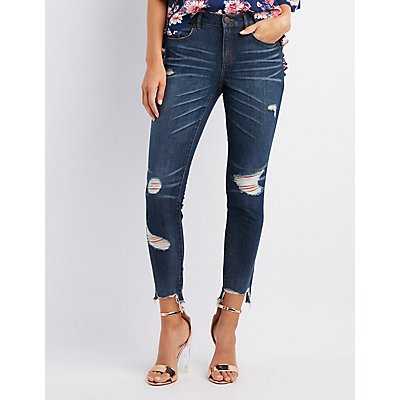 Refuge Destroyed Step Hem Skinny Jeans