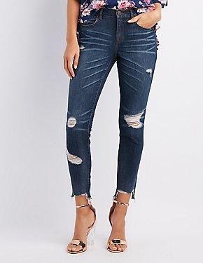 Refuge Destroyed Step Hem Skinny Jeans