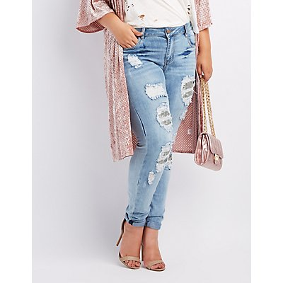 Plus Size Dollhouse Sequin-Inset Destroyed Skinny Jeans