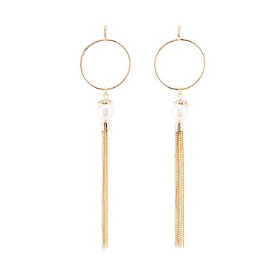 Embellished Hoop & Tassel Earrings