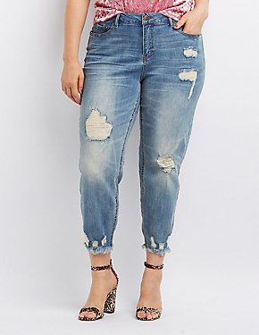 Plus Size Destroyed Straight Leg Jeans