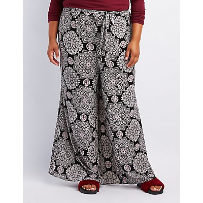 Plus Size Printed Tie-Front Palazzo Pants