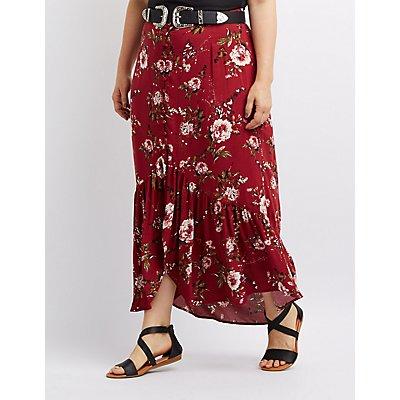 Plus Size Floral Button-Up Maxi Skirt