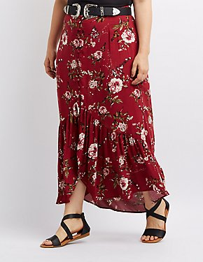 Plus Size Floral Button-Up Maxi Skirt