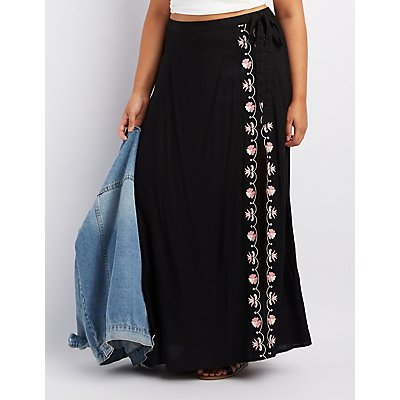 Plus Size Embroidered Side Slit Maxi Skirt