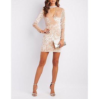 Velvet Embellished Choker Neck Bodycon Dress