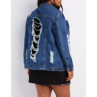Plus Size Mesh-Trim Destroyed Denim Jacket