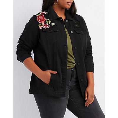 Plus Size Embroidered Destroyed Denim Jacket