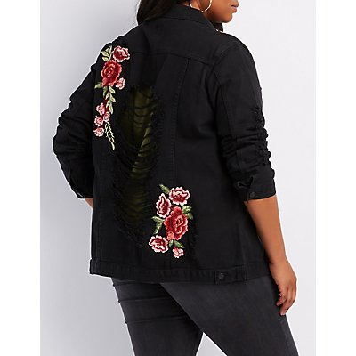 Plus Size Embroidered Destroyed Denim Jacket