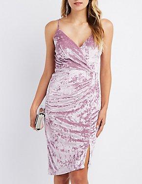 Velvet Asymmetrical Surplice Bodycon Dress