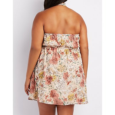 Plus Size Floral Halter Skater Dress