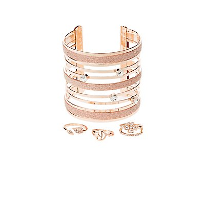 Embellished Caged Cuff Bracelet & Stacking Rings - 4 Pack
