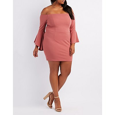 Plus Size Off-The-Shoulder Cascade Sleeve Bodycon Dress