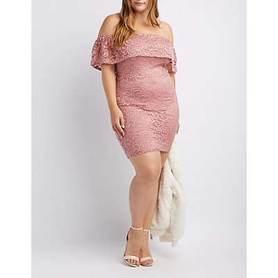 Plus Size Lace Off-The-Shoulder Midi Dress