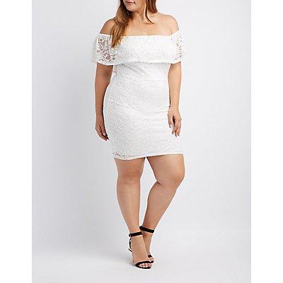 Plus Size Lace Off-The-Shoulder Midi Dress
