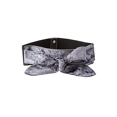Plus Size Velvet Bow Waist Belt