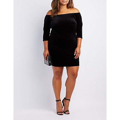 Plus Size Velvet Off-The-Shoulder Bodycon Dress