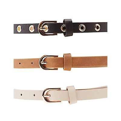 Studded, Grommet, & Faux Leather Belts - 3 Pack