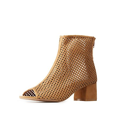 Qupid Perforated Peep Toe Booties